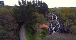 Vistas da fervenza de Toques coa axuda dun dron