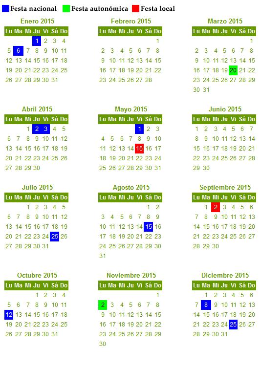 calendario oficial toques 2015